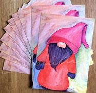 Postkarte, matt mit Illustration Knubbelnasen-Wichtel von silvanillion