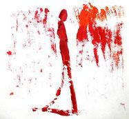 Figur, gehend, fingerzeichnung, rot