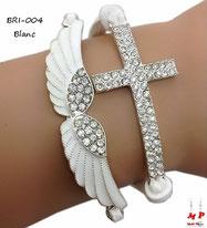 Bracelet blanc aile et croix