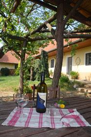 Tisch mit Weingläsern in einem schönen Garten.
