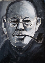 Mann mit Pfeife 48 x 36 cm Papier