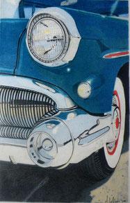 Dessin crayons de couleur phare et aile voiture ancienne