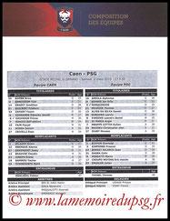 Feuille de match  Caen-PSG  2018-19