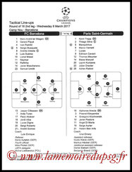 Feuille de match  Barcelone-PSG  2016-17