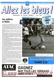 Programme  Auxerre-PSG  2001-02