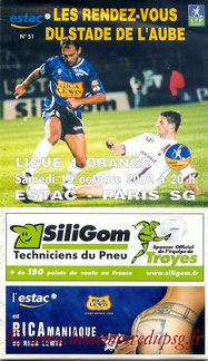 Programme  Troyes-PSG  2002-03