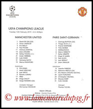 Feuille de match  Manchester United-PSG  2018-19