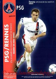 Programme  PSG-Rennes  2002-03