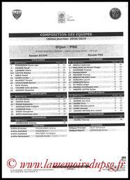 Feuille de match  Dijon-PSG  2018-19