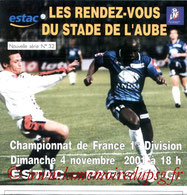 Programme  Troyes-PSG  2001-02