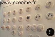Collection; bade; interrupteur; prise; porcelaine; retro; vintage; ancien