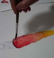 透明水彩基本の授業風景の画像