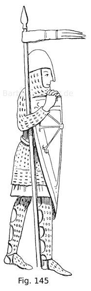 Fig. 145. Krieger aus der Handschrift 69 der Bibliothek in den Haag. Ende des 12. Jahrhunderts. Nach van der Kellen. T. 73.