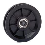 Seilrolle Ø 90 mm für Seile bis Ø 7 mm aus Kunststoff mit Kugellager