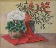 白い花と赤い実 油彩10号