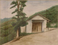 小屋と柿の木  水彩6号