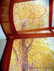 Роспись потолка визуально увеличивает высоту помещения и даёт возможность обозревать красоту крон вековых лип, на которых при малейшем дуновении ветерка колышется осенняя листва. Это роспись – обманк