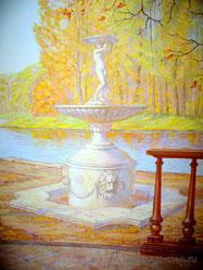 Художественная роспись стены открывает вид на чашу фонтана, в котором летом журчала прозрачная вода, утоляя своей прохладой летний зной.