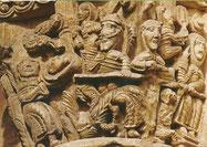 bas relief côté sud de la nef : le repas d'Hérode