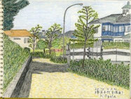 ②20年10月本牧貝塚通り 秋の日差しを受けた高台の住宅地