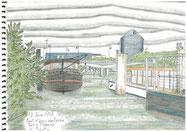 ③イッシー橋のセーヌ川船溜まり