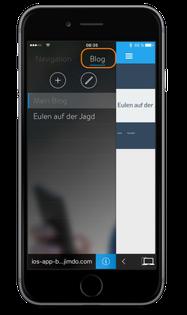 Bild: Jimdo-App iOS Blog Tab auswählen