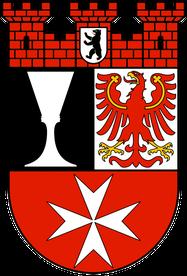 Wappen des Bezirks Neukölln von Berlin mit Hussitenkelch