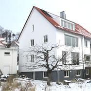 esp-architekten, Fassade, Putzfassade, Holz-Alu-Fenster, Klappladen, Holzfenster, Gaube