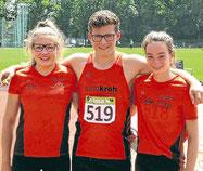 Lea Emelie Dickel, Elias Connor Dickel und Malin Böhl (v.l.) lieferten bei den NRWJugendmeisterschaften einmal mehr starke Leistungen ab