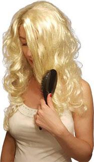 Frau lange Haare, blonde Haare, Locken, Roger Para Bürste