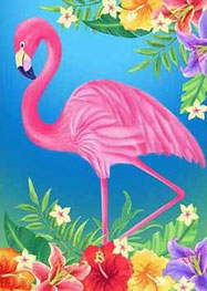 BRODERIE DIAMANT flamant rose