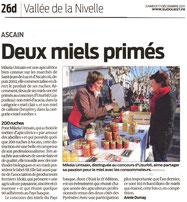 Article sur les deux miels primés au concours d'Usurbil (Guipuzkoa)
