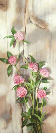 「野に咲くーアカツメクサー」パステル・アクリル 347x151mm