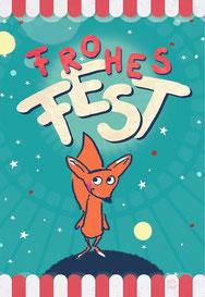 Fuchs im Weltall - Frohes Fest bei Redbubble – Illustration Judith Ganter - Illustriertes Kopfkino für Alltagsoptimisten
