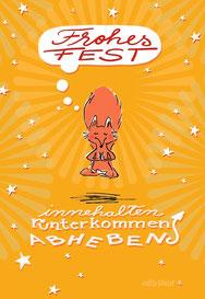 Schwebefuchs - Weihnachten - gelb bei Redbubble – Illustration Judith Ganter - Illustriertes Kopfkino für Alltagsoptimisten