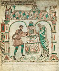 Hildegard van Vlaanderen (rechts) met haar man Graaf Dirk II