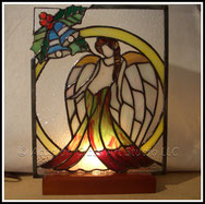 Stained glass christmas angel accent lamp