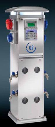 Torretas de suministro de agua y luz con sistema Easy (pre-pago) de servicios para Puertos