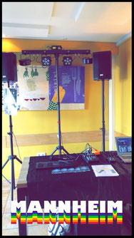 Mannheim kulinarisches Gasthaus Lavendel Alex Light and Sound Set Komplett Set Partyequipment Mieten Verleih 70 Euro Musikanlage Lichtanlage Mikrofon Nebelmaschine