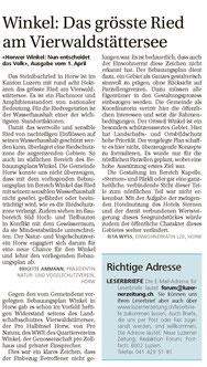 NLZ vom 13. April Leserbriefe von Brigittte Ammann und Jörg Lohri