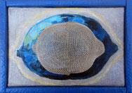 LEMON A / Icône - Acrylique et collage sur toile  14 x 18 cm.