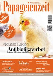 Papageienzeit, Fachzeitschrift, mit Beitrag über das Antibiotikaverbot für Zier- und Heimvögel