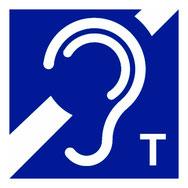 Internationales Piktogramm zur Kennzeichnung von induktiven Höranlagen - Symbol eines Ohrs in Verbindung mit dem Buchstaben T