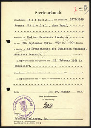 Sterbeurkunde Werner Michael Stiefel