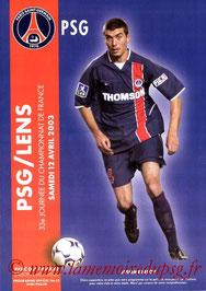 Programme  PSG-Lens  2002-03