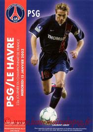 Programme  PSG-Le Havre  2002-03