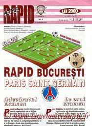 Programme  Rapid Bucarest-PSG  2001-02