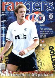Programme  Rangers-PSG  2001-02