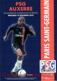 Programme  PSG-Auxerre  2001-02