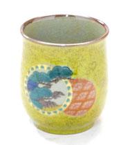 九谷焼通販 おしゃれなお湯呑 湯飲み ゆのみ茶碗 小 金丸松竹梅 黄色塗り 裏絵